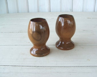 Pair of Vintage Myrtlewood Candleholders Zumwalt's Bandon Oregon