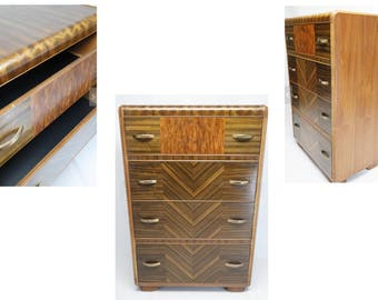 vintage | 20s 30s 40s antique art deco waterfall chest of drawers