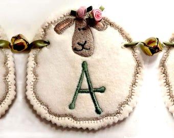 SHEEP ALPHABET BUNTING  Machine embroidery Designs