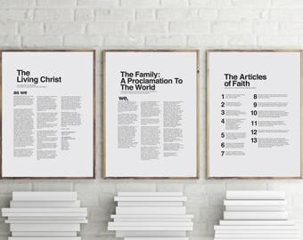 """11"""" x 14"""" THREE PACK LDS Modern Proclamation to the Family, Articles of Faith, and The Living Christ You Print Printable"""