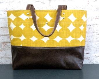 Mustard Dot Tote, Canvas Tote handbag, Leather Bottom, Carry all bag, laptop Tote, Skinny LaMinx Bag, Large Tote, Knitting Bag, Large Purse