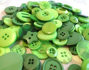 160 GREEN Buttons for Sewing Crafts Scrapbooking Cardmaking Hearts Star