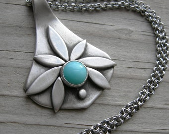 Pietas Goddess Pendant Sterling Turquoise PMC Artisan Jewelry Necklace December Birthstone