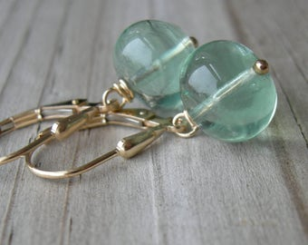 Spring Green Fluorite Gold Fill Earrings