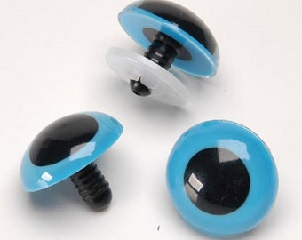 Blue Animal Eyes with Washers - 8-18mm - 50 or 100 Eyes - Stuffed Animals Doll Eyes AE-Blue fnt