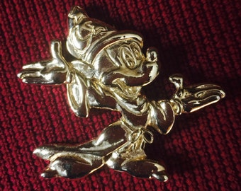 Vintage 1980s Gold Tone Mickey Mouse Pin by Wendy Gell