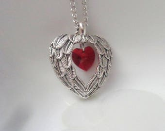 Angel Wings Necklace, Angel Necklace, Wings Pendant, Grief Jewelry Swarovski Heart Necklace Red swarovski crystal, Red Heart Necklace