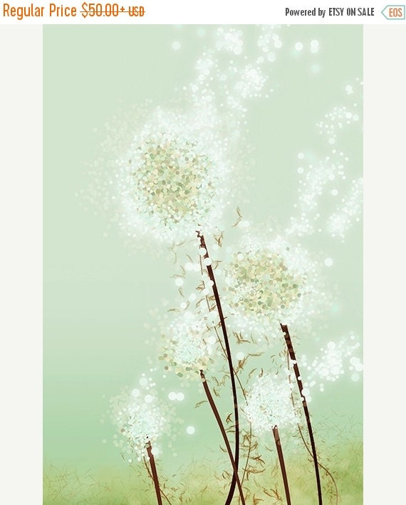 50% Off - Black Friday Dandelion Art - Perennial Moment (tea green) - 24x36 LARGE Print