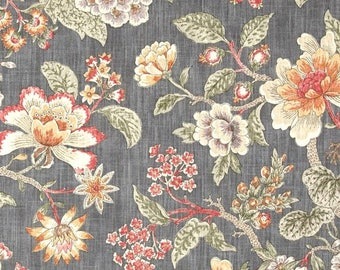Gray Floral Drapery Panels - Pair/ 2 Panels - P Kaufmann Room with a View Haze Fabric