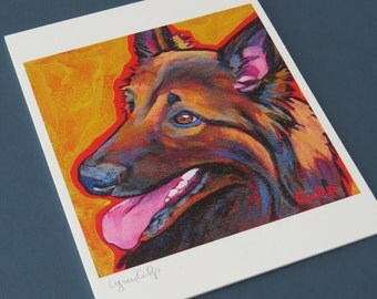 BELGIAN SHEPHERD Dog 8x10 Signed Art Print from Painting by Lynn Culp
