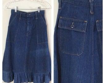 """70s High Waist Ruffle A-line Denim Skirt, Size XS, 24"""" waist"""