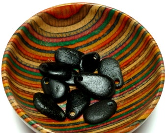 Black Stones BAVARIA Over Sized Holes Dangles Jewelry Stone Pebbles Layering Charms Beads Black River Rocks