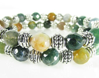 Agate Bracelet Set, Multi-colored Stretch Bracelets