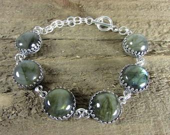 Labradorite & Sterling Silver Link Bracelet, Round Labradorite Cabochon Bracelet, Gemstone Link Bracelet