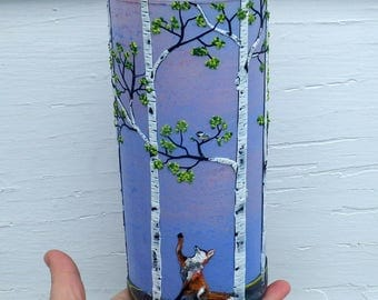 Red Fox Greets Chickadee in a Birch Woodland Sculpted with Polymer Clay onto a Recycled Glass Vase in Sunset Colors