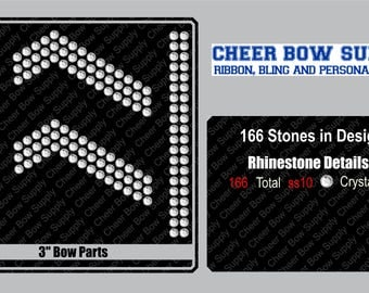 """3"""" Cheer Bow Bow V-Cut/Centers Bow Parts Rhinestone INSTANT FILE DOWNLOAD"""