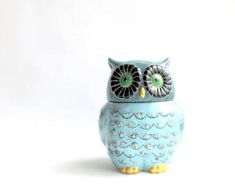 OWL Cookie Jar: Blue Owl Cookie Jar Hand Painted Cookie Jar Ceramic Jar Dot painting Owly Ceramic Cookie jar
