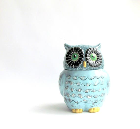 OWL Cookie Jar: Blue Owl Cookie Jar Hand Painted Cookie Jar Ceramic Jar Dot painting Owly Ceramic Cookie jar black and blue owl