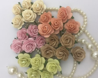 50 Pastel Mix Small Mulberry Paper Flowers for Baskets Scrapbooks Wedding Faux Cupcake Cards Dolls Crafts Roses 595/R6