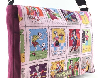 BURGUNDY Day of the Dead LOTERIA Stamps MESSENGER Book Laptop Diaper Bag