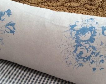 PaRiS DOWN pillow Blue Flower/RoSeS/FrencH Decor/WHITE Linen/Cottage Pillow/Shabby Chic/Nursery/Lumbar Pillow/Throw Pillow/Bedroom