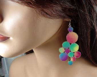 Polymer Clay and Sterling silver dangle earrings, bubbles, rainbow colors