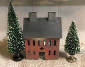 Primitive Tin House and Bottle Trees Set