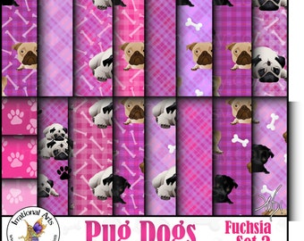 Pug Fuchsia Set 2 - 18 digital scrapbooking papers - Pug dogs bones paws hot pink  {Instant Download}