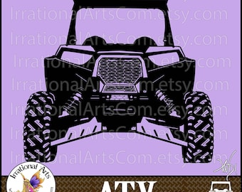 ATV Off-road Vehicle 2 person - 1 Eps & 1 Svg Vinyl Ready Image and 1 Png clipart graphics files Front View  {Instant Download}