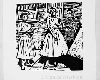 Ladies on Holiday-Original Handcarved Linocut original artwork handcarved Holiday