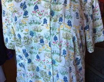 VINTAGE FLORAL BLOUSE, Liz Claiborne, jacket shirt, rayon, 90s, xl, pretty
