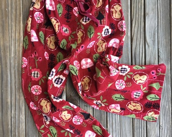 Red Corduroy Girls Pants- Wooded Creatures, Red, Girls, Baby, Squirrel, Forest, Flower, Trees, Woods, Corduroy, Green, Pink, Pants