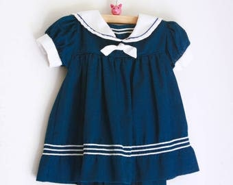 Vintage girls dress sailor blue and white 6 to 9 months