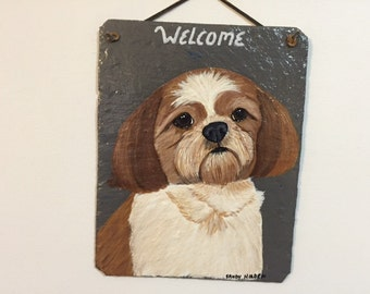 Shih Tzu (brown and white) Dog Welcome Slate