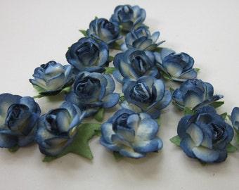 12 Small Blue Khadi Paper Roses
