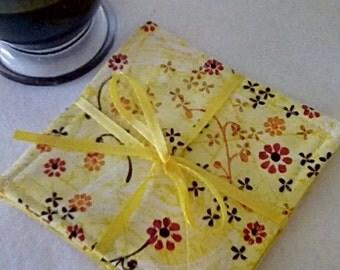 Mug Rug SET of 4, Sunshine Yellow, Fabric Coasters, Handmade, Hostess Gift, FREE Shipping in US