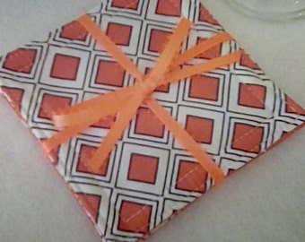 Mug Rug Set of 4, ORANGE Squares and Polka Dots, Fabric Coasters, Handmade, Hostess Gift, FREE Shipping in USet