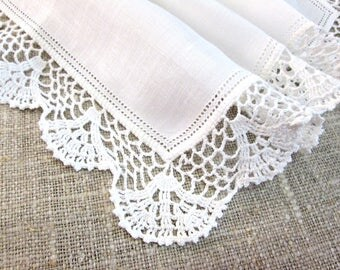 Vintage Handkerchief White Linen and Lace Crochet Crocheted Hankie Hanky Antique Linens Wedding Bridal Shower Gift for Her Something Old