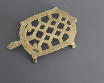 Brass Turtle Trivet / Plant Holder