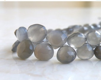 Black Friday Sale Grey Moonstone Gemstone Briolette Faceted Heart 9.5 to 10.5mm 12 beads