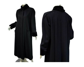 Pleated Maxi Coat Black Wool Vintage 80s Size 6 But Fits to 10 - Steve2 - Faux Fur Collar and Cuffs
