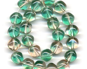 Vintage Green & Pink Beads 9mm Bicolor Givre Blend Glass Made in W. Germany