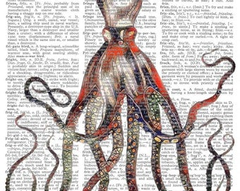 Giant Colorful Octopus--Vintage Dictionary Art Print---Fits 8x10 Mat or Frame
