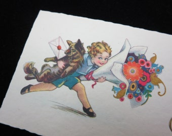 1920s Christmas Card - Joyeux Noel, French, Small, Child with Dog and Large Flower Bouquet