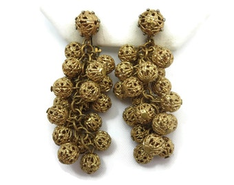 Brass Filigree Earrings - Bead Clusters, Clips