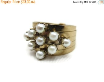 SALE Pearl Stack Ring - Multi Band, June Birthstone Jewelry