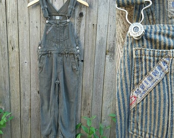 Vintage Kids Overalls  // Vtg UNION BAY Distressed Overdyed Hickory Stripe Denim Bibs // unisex childrens size 6 / 7