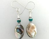 Spring Sale Time Earrings Abalone and Turquoise