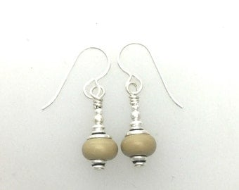 Small Lamp Work Earrings Putty Color