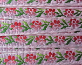 2 Yards Floral Jacquard Trim 1/2 Inch Wide Pink and Green  VT 163